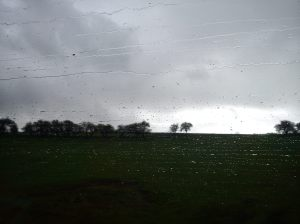 Rain on train window